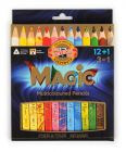 set of jumbo triangular coloured MAGIC pencils 3408 12+1 FSC 100%