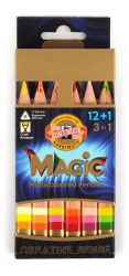 set of jumbo triangular coloured MAGIC pencils 3404N 12+1 FSC 100%